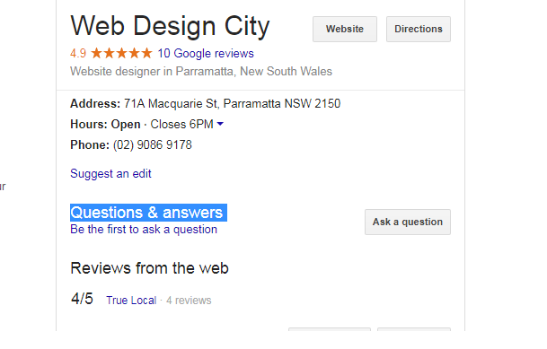 google my business Questions answers