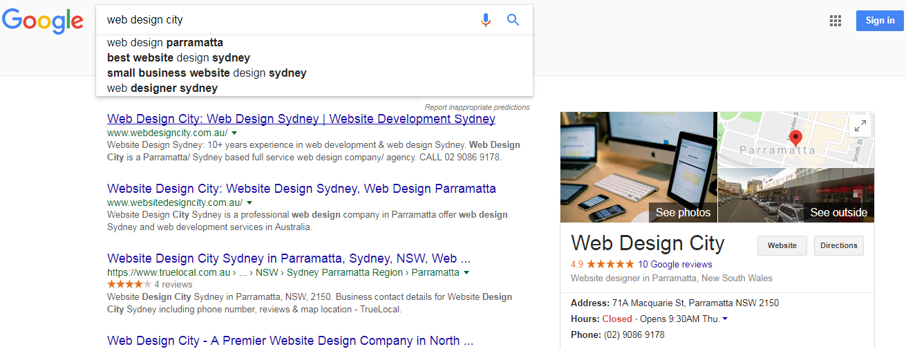 Web Design City semantic search